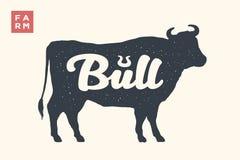 Farm animals set. Isolated bull silhouette and word Bull stock illustration