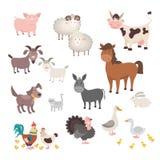 Farm Animals set. Isolated homes animal pig chicken horse dog turkey rabbit cat. Vector illustration stock illustration