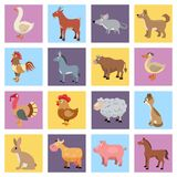 Farm animals set. Farm animals livestock and pets icons set isolated vector illustration Royalty Free Stock Photos