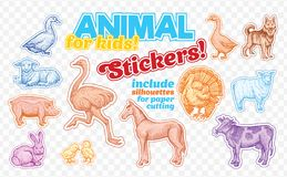 Farm animals set in sketch style on colorful stickers.  on transparent background. Can be used for cute coloring. Farm animals set in sketch style on colorful Royalty Free Stock Photos