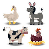Farm animals set. Trendy vector set with cute goose, donkey, hen and cow. farm animals set Stock Images