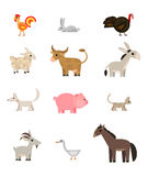 Farm animals set on white background, flat, vector Royalty Free Stock Images