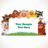 Farm Animals with Sign. Vector Royalty Free Stock Image