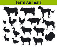 Farm animals silhouettes collection Stock Photo