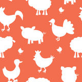 Farm animals silhouettes pattern Royalty Free Stock Image