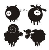 Farm animals. Silhouettes. Set icons. Vector illustration Stock Photo