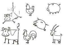 Farm animals simple clipart. Hand drawning funny farm animals vector Royalty Free Stock Photography
