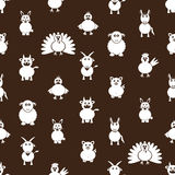 Farm animals simple icons seamless pattern Royalty Free Stock Photography