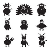 Farm animals simple icons set Royalty Free Stock Photo