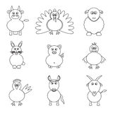 Farm animals simple outline icons set Stock Photos