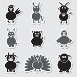 Farm animals simple stickers set Stock Photography