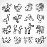 Farm Animals Sketch Stock Image