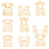Farm Animals Sketchy Icons Stock Images