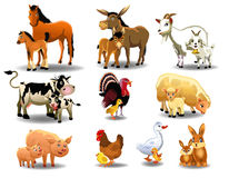 Farm animals and their babies. Vector set of farm animals and their babies on a white background royalty free illustration