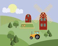 Farm with animals, tractor, mill agriculture illustration vector Royalty Free Stock Photo
