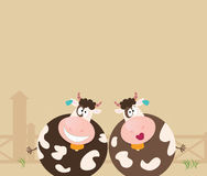 Farm animals: two happy cows