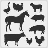 Farm animals vector icons set. Black and white Stock Photography