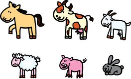 Farm animals vector set. Six vector isolated animals - horse, cow, milch goat, sheep, pig, rabbit Stock Photos