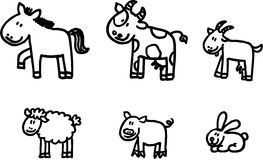 Farm animals vector set. Six vector isolated animals - horse, cow, milch goat, sheep, pig, rabbit Stock Photography