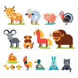 Farm animals vector set domestic farming characters cow and sheep, pig, turkey, dog, horse and cat farmer animals Stock Photos