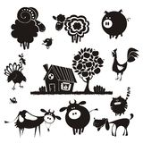 Farm animals. Vector silhouettes. Rural landscape with farm animals Stock Image