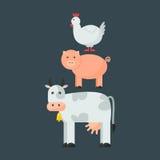 Farm animals vectot set. Stock Photos