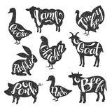 Farm Animals Vintage Stamp Collection Stock Image