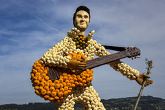 Farm Art Guitar And Guitarist Made Of Small Orange, Green And White Pumpkins Royalty Free Stock Photography