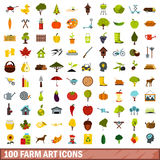 100 farm art icons set, flat style. 100 farm art icons set in flat style for any design vector illustration Stock Images