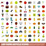 100 farm article icons set, flat style. 100 farm article icons set in flat style for any design vector illustration vector illustration