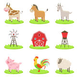 Farm Associated Animals And Objects Set Stock Photo