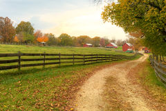 Farm in Autumn. Path leading to a farm in autumn stock images