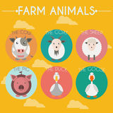 Farm Baby Animals and Birds Icons Set Stock Photos