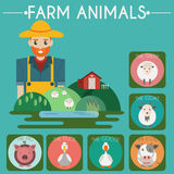 Farm Baby Animals and Birds Icons Set Stock Images