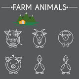 Farm Baby Animals and Birds Icons Set. Farm Animals and Birds Round Icons Set. Cow, Goat, Sheep, Pig, Duck and Goose. Country barn in mountains valleys. Line Art Stock Photography