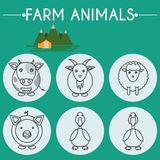 Farm Baby Animals and Birds Icons Set. Farm Animals and Birds Round Icons Set. Cow, Goat, Sheep, Pig, Duck and Goose. Country barn in mountains valleys. Line Art Royalty Free Stock Photo