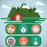 Farm Baby Animals and Birds Icons Set Stock Image