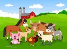 Farm background with animals royalty free illustration