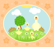 Farm background with goose. Farm background with funny goose Stock Photography