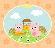 Farm background with pig Stock Photo