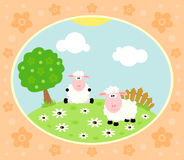 Farm background with sheep Stock Photography