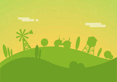 Farm background. Silhouettes of farm background. Tractor rides through the hills. Windmill and water tower Stock Images