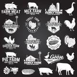 American Farm Badge or Label. Vector illustration. Farm Badge or Label on the chalkboard. Vector. Vintage typography design with chicken, pig, turkey, cow and Royalty Free Stock Photos