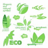 Farm badge set of Fresh Organic elements. Labels for natural food and drink, products, biodynamic agriculture. Collection 100% bio, eco, healthy stickers royalty free illustration