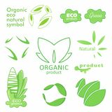 Farm badge set of Fresh Organic elements. Labels for natural food and drink, products, biodynamic agriculture. Collection 100% bio, eco, healthy logo. Vector stock illustration