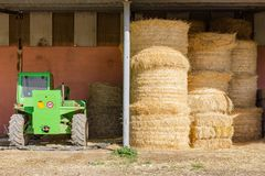 Farm bails of hay. In Sicily stock images