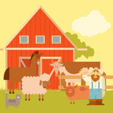 Farm banner with flat animals Royalty Free Stock Images