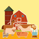 Farm banner with flat animals Royalty Free Stock Photo