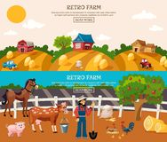 Farm Banner Set Stock Photography