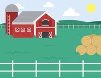 Farm with Barn. Cartoon farm with barn and white fence Stock Photography